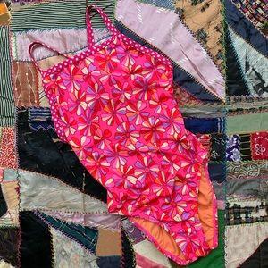 Vintage DOLPHIN Colorful Floral Dot Bathing Suit
